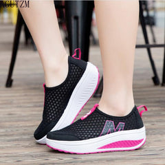 New Women's Shoes Casual Sport Fashion Shoes Walking Flats Height Increasing Women Loafers Breathable Air Mesh Swing Wedg V406