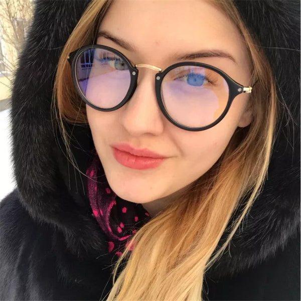 blue light glasses frame computer glasses spectacles round transparent female women's eyeglasses frame 2018 Optical frames clear