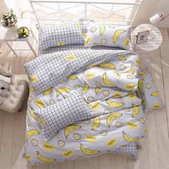 Wongsbedding Banana Duvet Cover Bedding Set Bed Sheet Single Full Queen King Size 3/4PCS Bedclothes