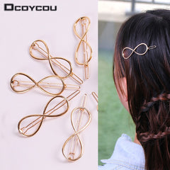 1PC Styling Tools Fashion Women Infinity Hair Clips Girl DIY Hair Care Barrette Headband Styling Accessories Gold Color Hairpin