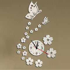 Modern DIY Butterfly Flower Wall Clock Sticker 3D Mirror Surface Art Stickers Decal Bedroom Home Decor TB Sale