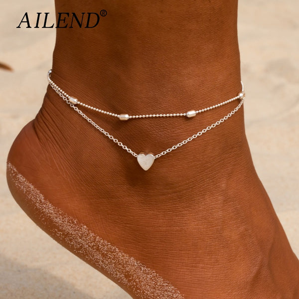 Female Heart Anklets Barefoot Crochet Sandals Foot Jewelry New Ankle Ankle Foot Anklets Bracelets For Women Leg Chain