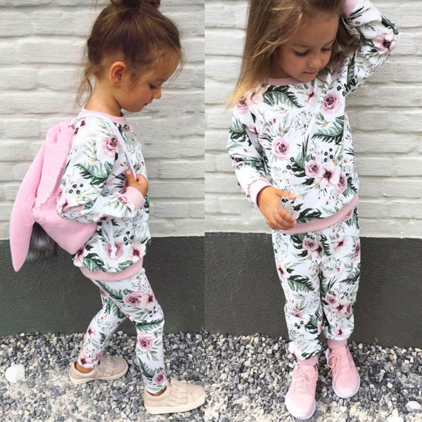 Fashion Toddler Kids Baby Girl Clothing Set Flower Long Sleeve T-shirt+Pants Tracksuit 2Pcs Outfits Baby Girl Autumn Clothes