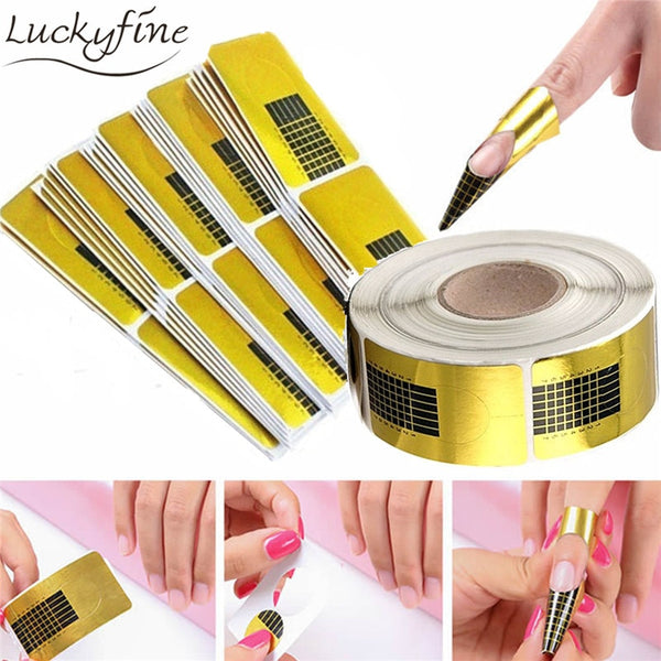 100Pcs Nail Form for Acrylic UV Gel Tip Square Paper Golden Nail Extension Guide French Nails Art Tool Self-Adhesive Sticker