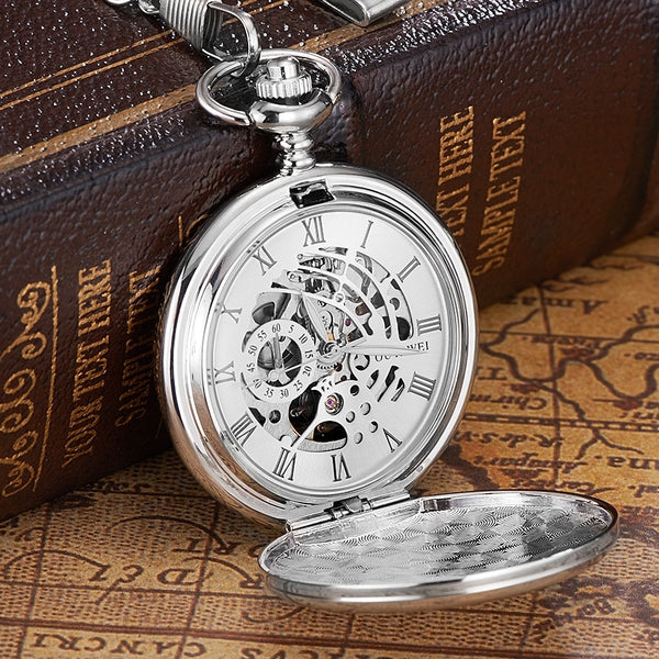 New OYW Brand Stainless Steel Men Fashion Casual Pocket Watch Skeleton dial Silver Hand Wind Mechanical Male Fob Chain Watches