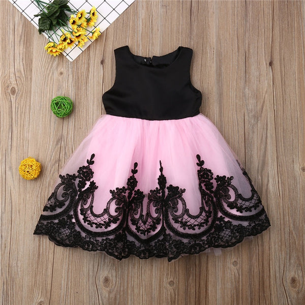 Kids Girl Big Bow Princess Dress Formal Sleeveless Lace Tulle Tutu Wedding Party Dresses Girl Back Hollow Out Ball Gown 1-6Y