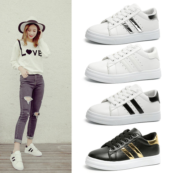Stravel Women's Casual Shoes Sole Rubber Women Shoes Breathble Vulcanized Shoes Women Casual Lace Up Sneakers White Women