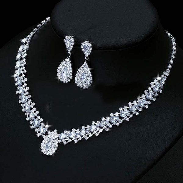 Luxurious Wedding Jewelry Sets for Bridal Bridesmaid Jewelery Silver Drop Earring Necklace Set Austria Crystal Wholesale Gift