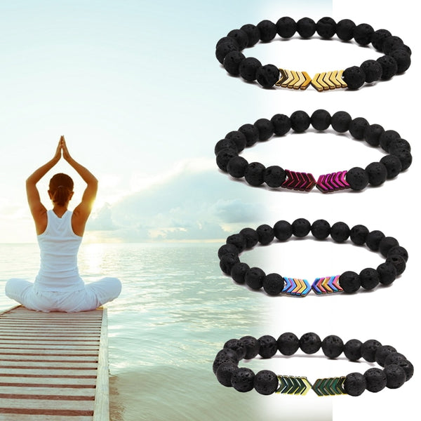 Sacred Arrow Lava Stone Diffuser Bracelet Men Jewelry 2019 Armband Heren Fashion Volcanic Beaded Yoga Bracelet Women Bileklik