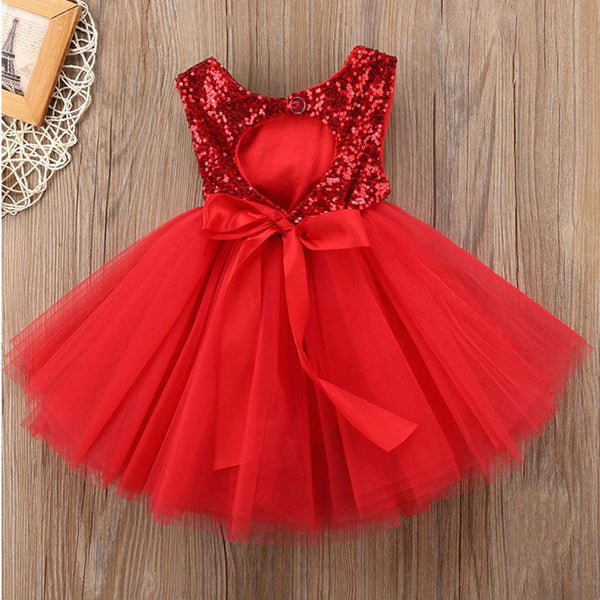 2019 Pageant Kids Baby Girl Princess Dress Tutu Tulle Back Party Dress Pink Red Ball Gown Formal Dresses Outfits High Quality