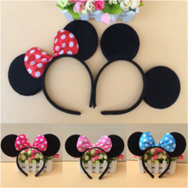 kids cosplay  Minnie Mouse ears children Headwear Hairbrands Accessories Baby Girls Headwear Red Pink Bow Headband Hair Band