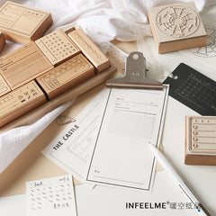 Vintage Check List Calendar Memo Time Planner Wooden Rubber Stamp Set for DIY Scrapbooking Card Decoration Embossing Craft