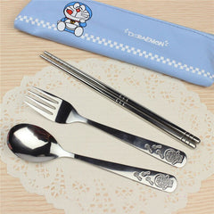 Stainless Steel Cutlery Set Dinnerware Sets Cartoon Doraemon Outdoor Portable Tableware Set with Bag A