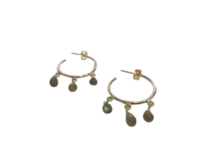 Boucles créoles Maï S Labradorite Goutte - Jolly Jungle