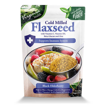 6 x 180g Organic Cold Milled Flaxseed Beta Glucan, Vitamins C & D3 and Zinc, Black Elderberry