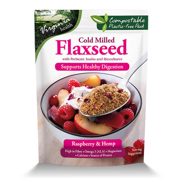 6 x 200g Organic Cold Milled Flaxseed Prebiotic Inulin and Biocultures, Raspberry and Hemp