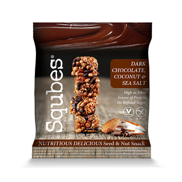 Bite size Snacks - perfect for lunches! 12 x 30g Dark Chocolate, Coconut and Seasalt