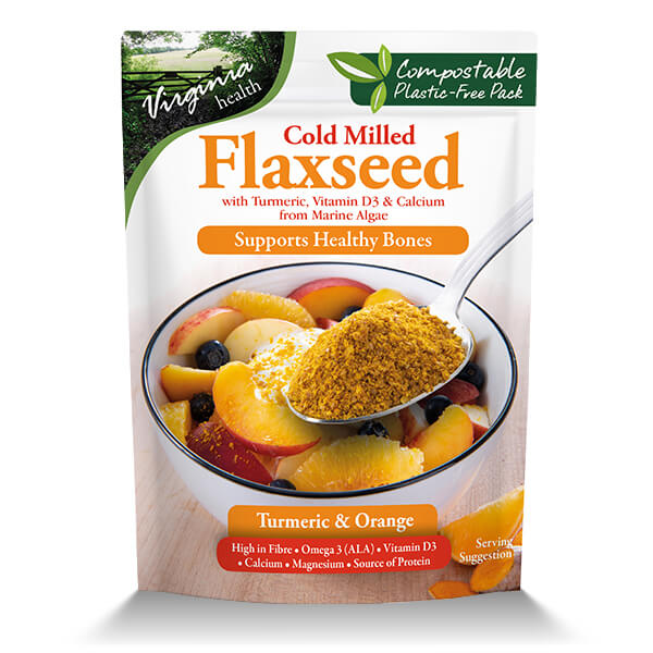 6 x 200g Organic Cold Milled Flaxseed Vit D3 and Calcium, Turmeric and Orange