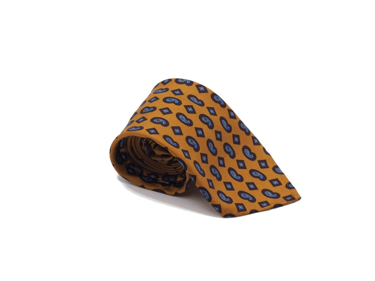 Silk Tie Printed Paisley Yellow