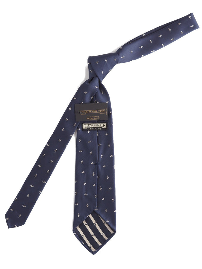 Silk Tie Navy with White Thistle