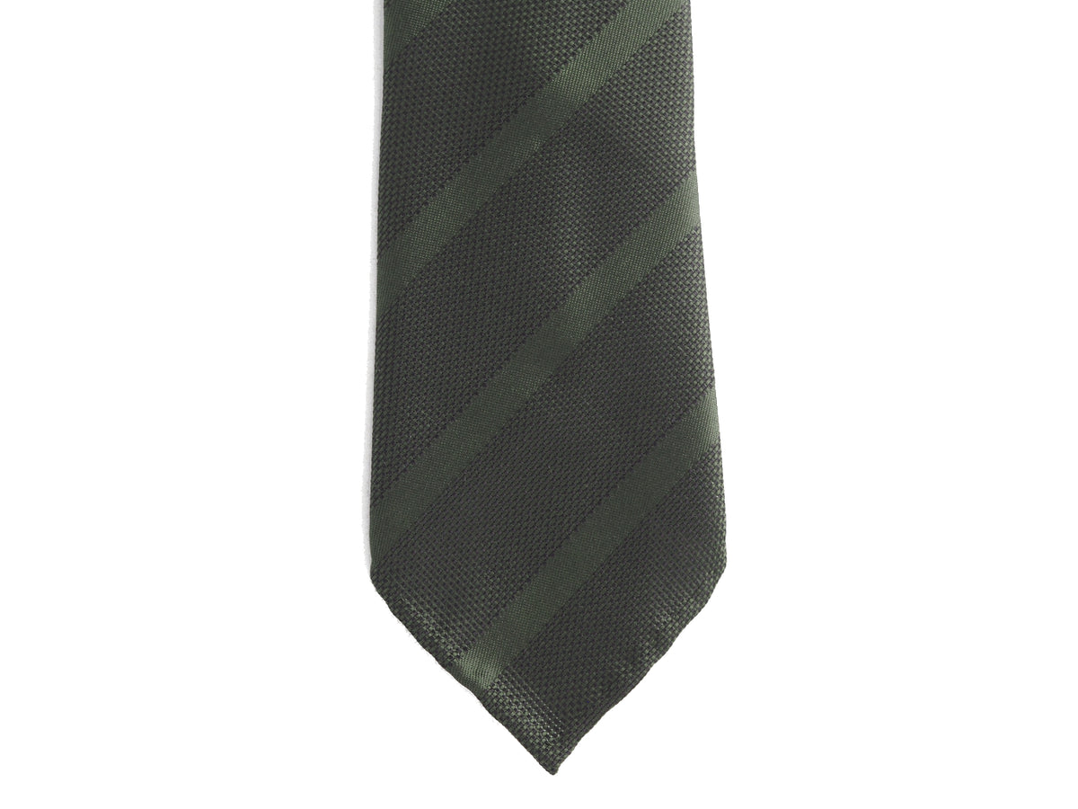 Grenadine Silk Tie Repp Stripe Green