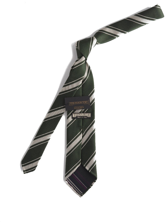 Silk Tie Repp Stripe Green