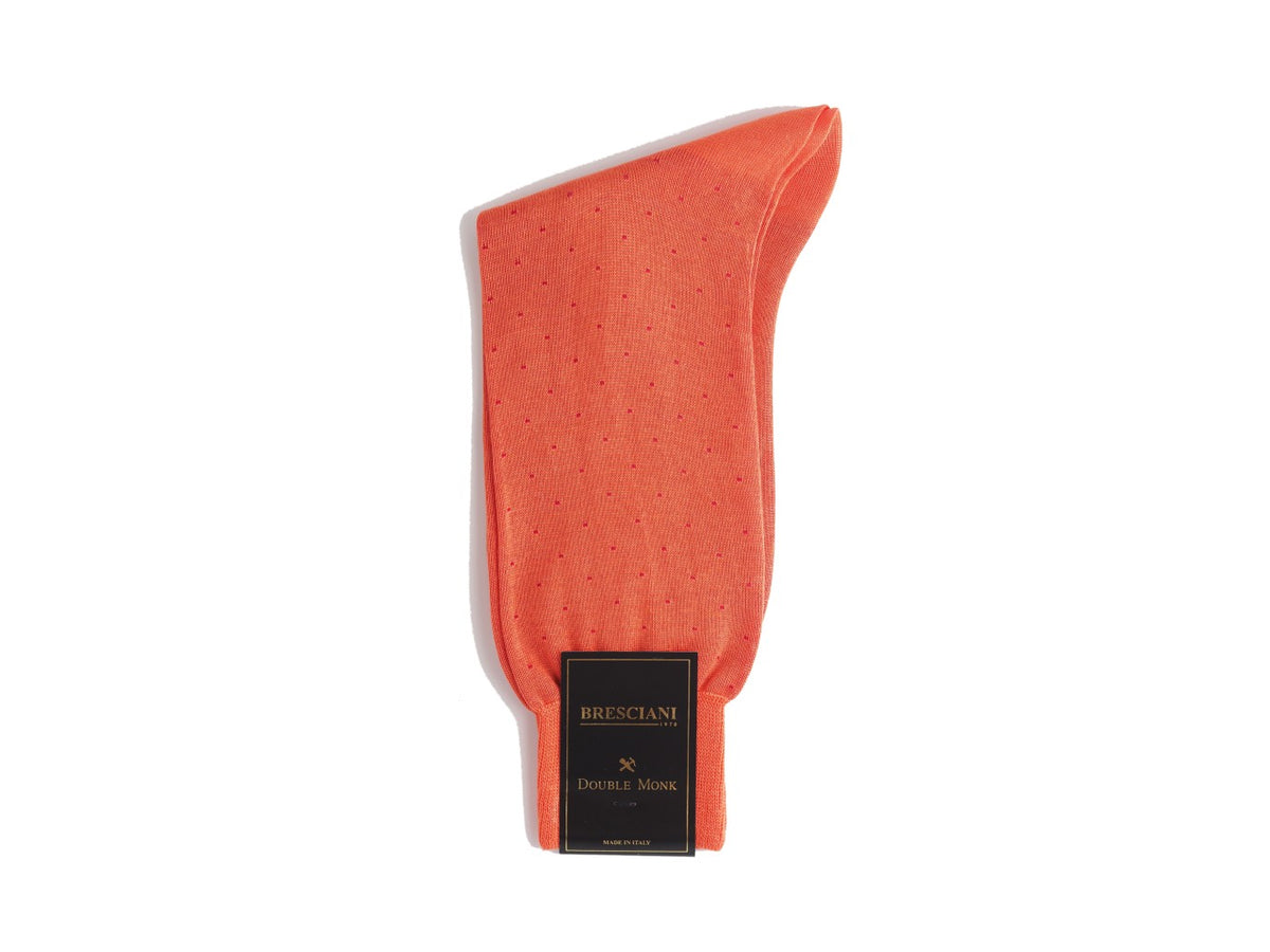 Calf Length Cotton Socks Orange with Red Spots