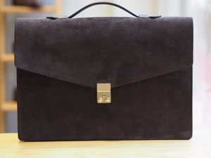 Port Briefcase Chocolate Suede