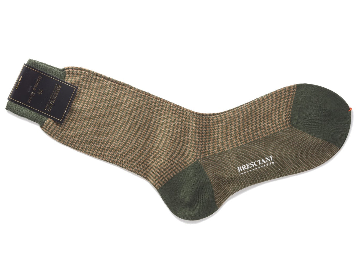 Calf Length Cotton Socks Military Green & Walnut Dogstooth