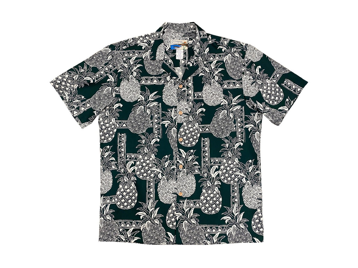 Aloha Shirt Cotton Tapa Pineapple Forest Green