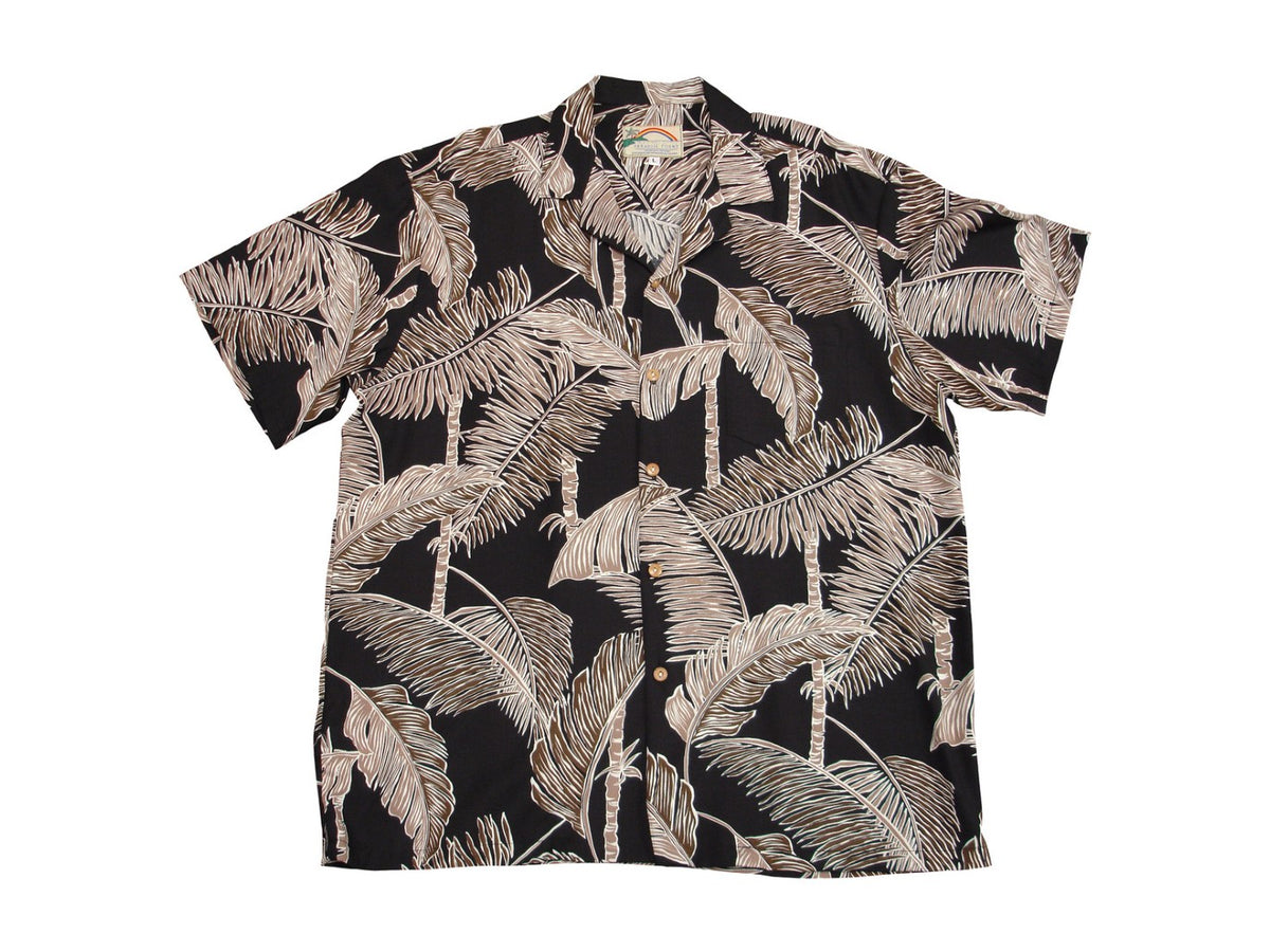 Aloha Shirt Tree Tops Black