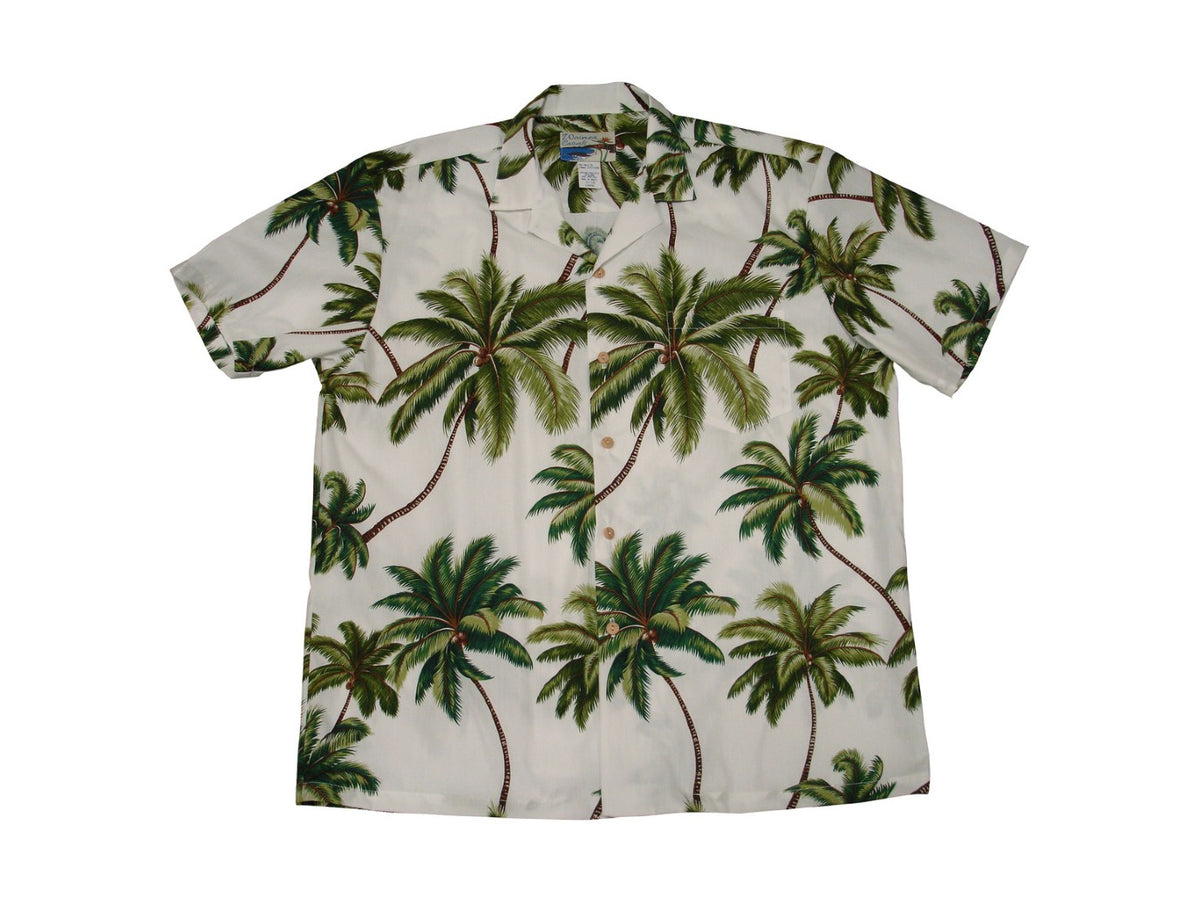 Aloha Shirt Cotton Wailea Palms White
