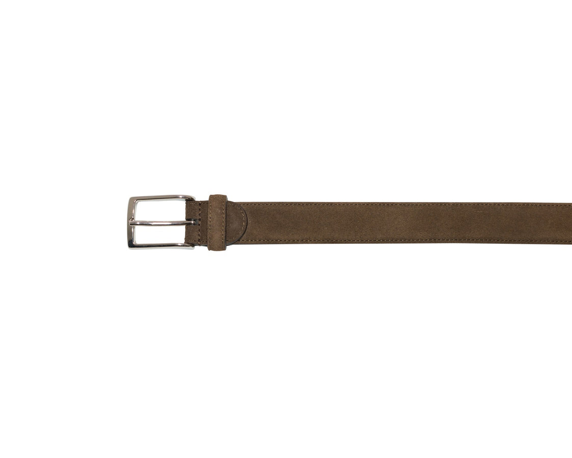Belt with Nickel Buckle Brown Suede