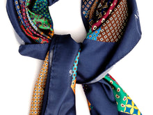 Load image into Gallery viewer, Silk Patchwork Foulard Classic Navy