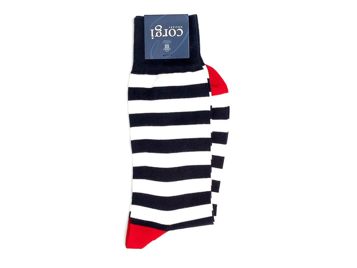 Henry Stripe Socks Navy & White