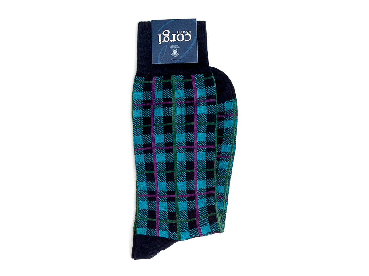 Plaid Socks Black & Green