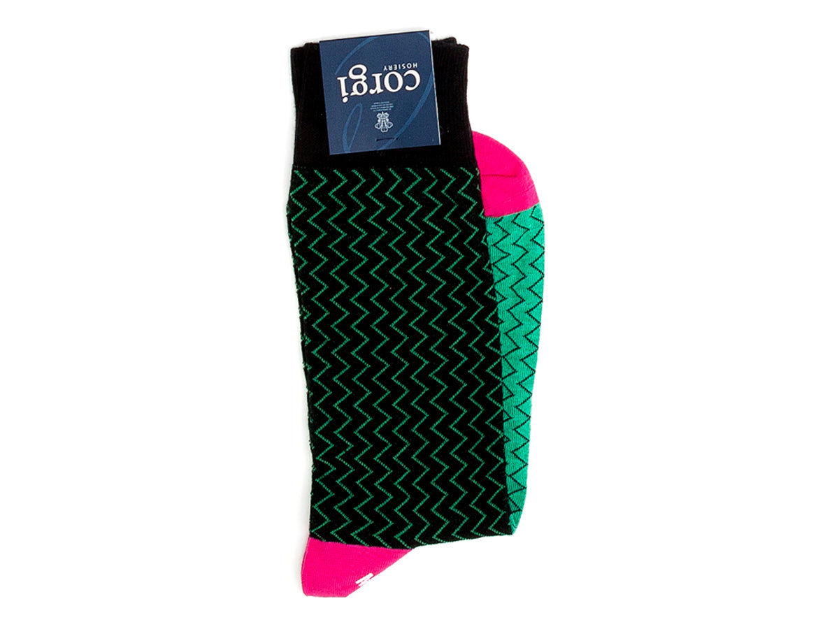 Lightning Stripe Socks Green