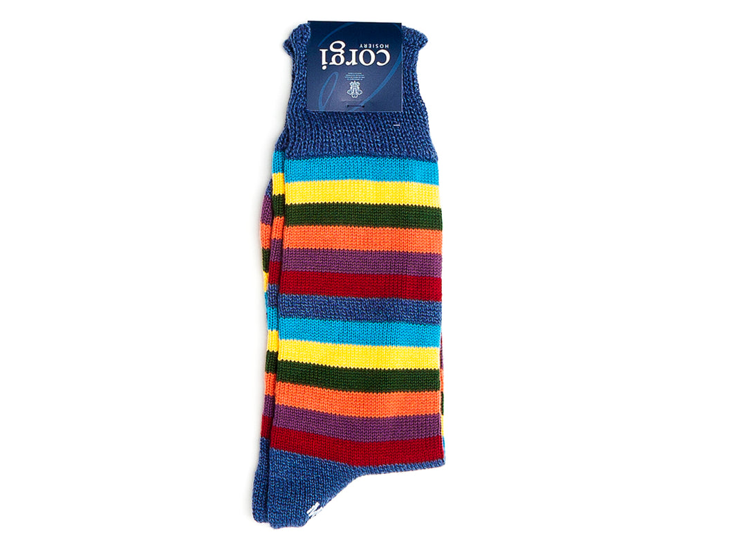 Seven Stripe Cotton Socks Dark Blue