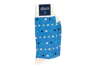 Square Dot Socks Blue
