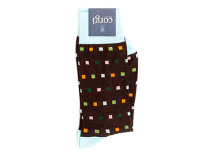 Square Dot Socks Brown
