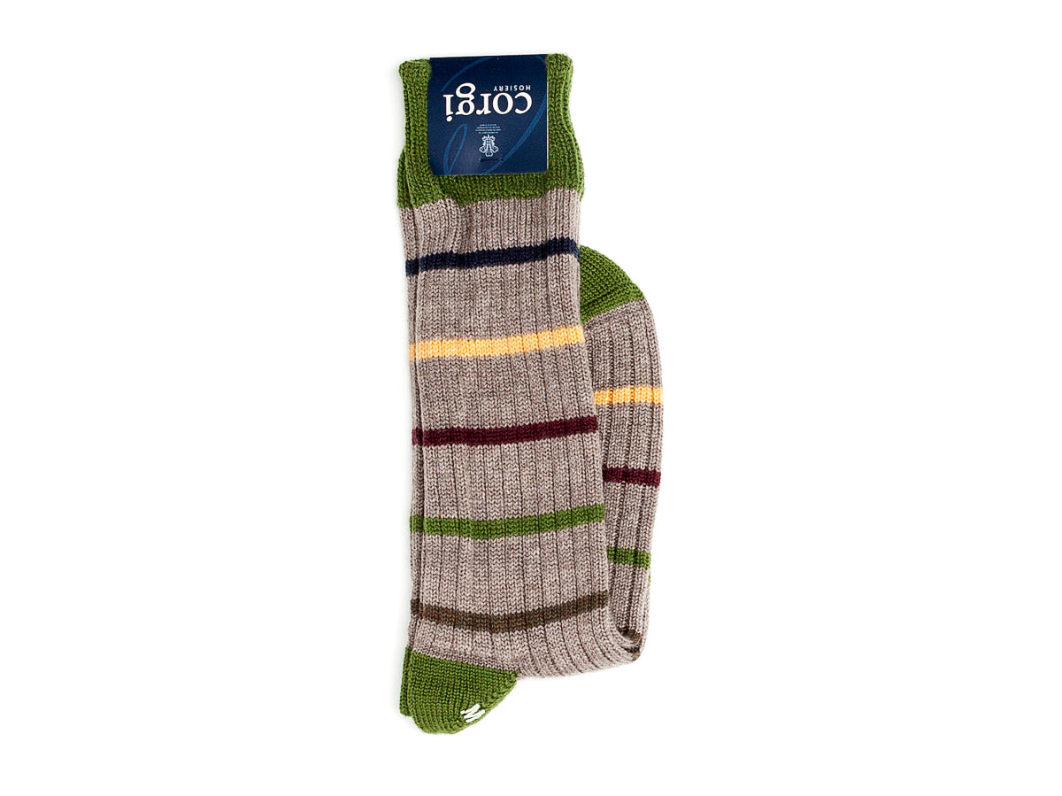 Thin Stripe Cotton Socks Light Grey