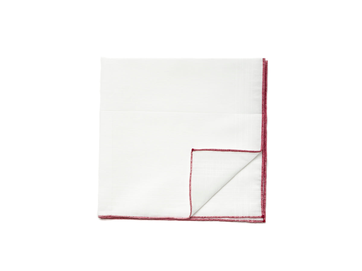 White Linen-Cotton Pochette with Red Edge