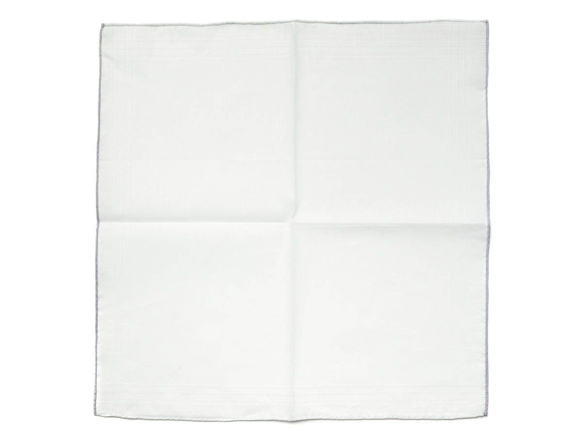White Linen-Cotton Pochette with Grey Edge