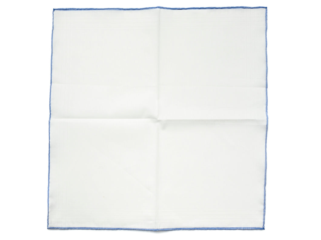 White Linen-Cotton Pochette with Blue Edge