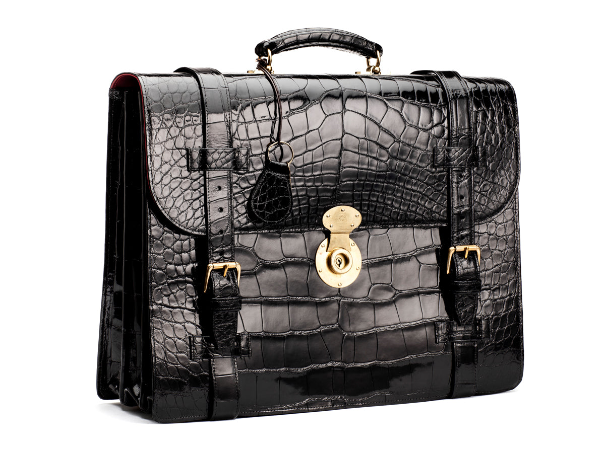 Briefcase Alligator Black