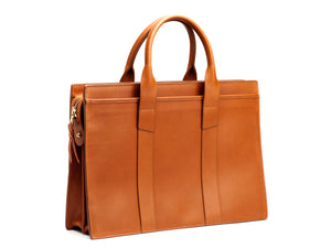 Double Gusset Zip-Top Briefcase Cognac Harness Belting Leather