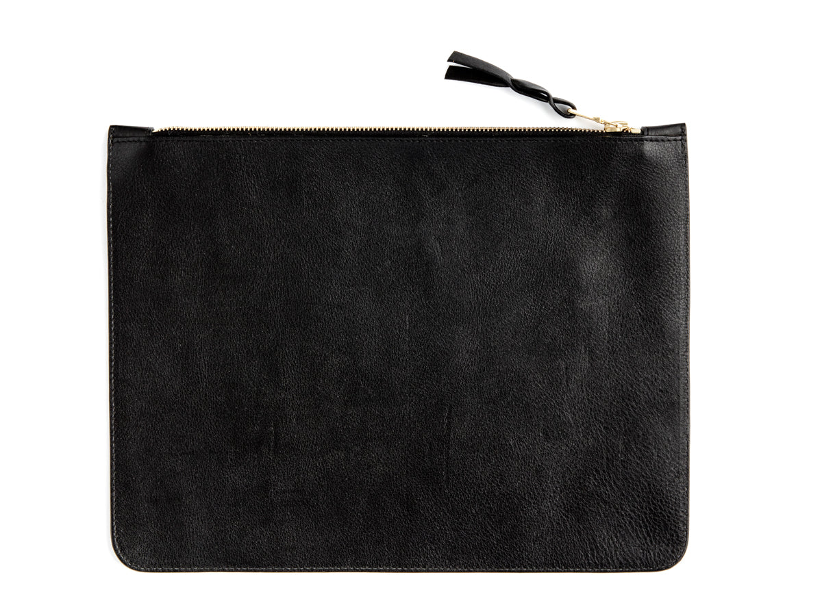 Zipper Pouch Large Black Tumbled Leather