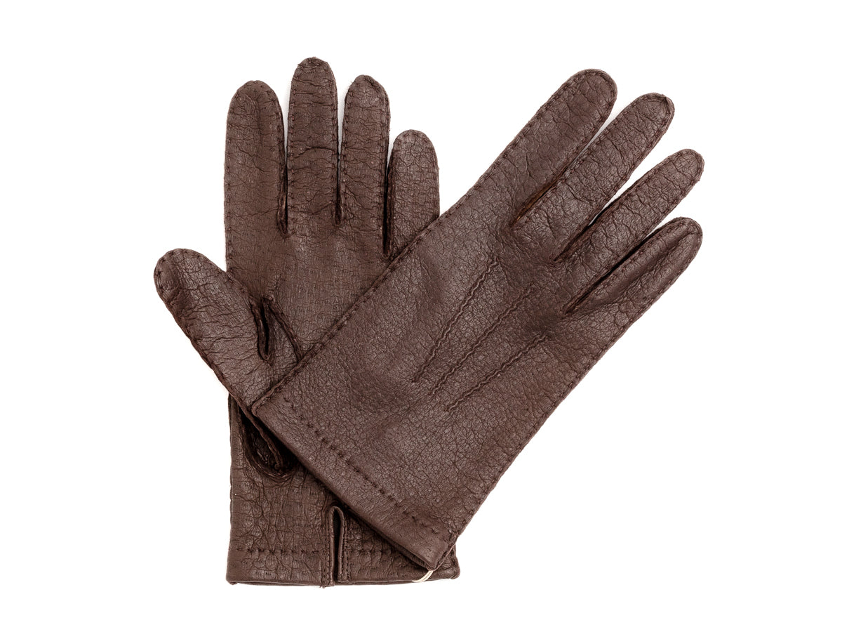 Unlined Pecary Gloves Dark Brown