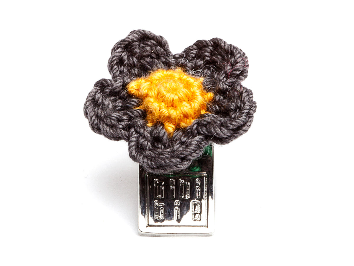 Lacy Flower Boutonniere Grey & Yellow