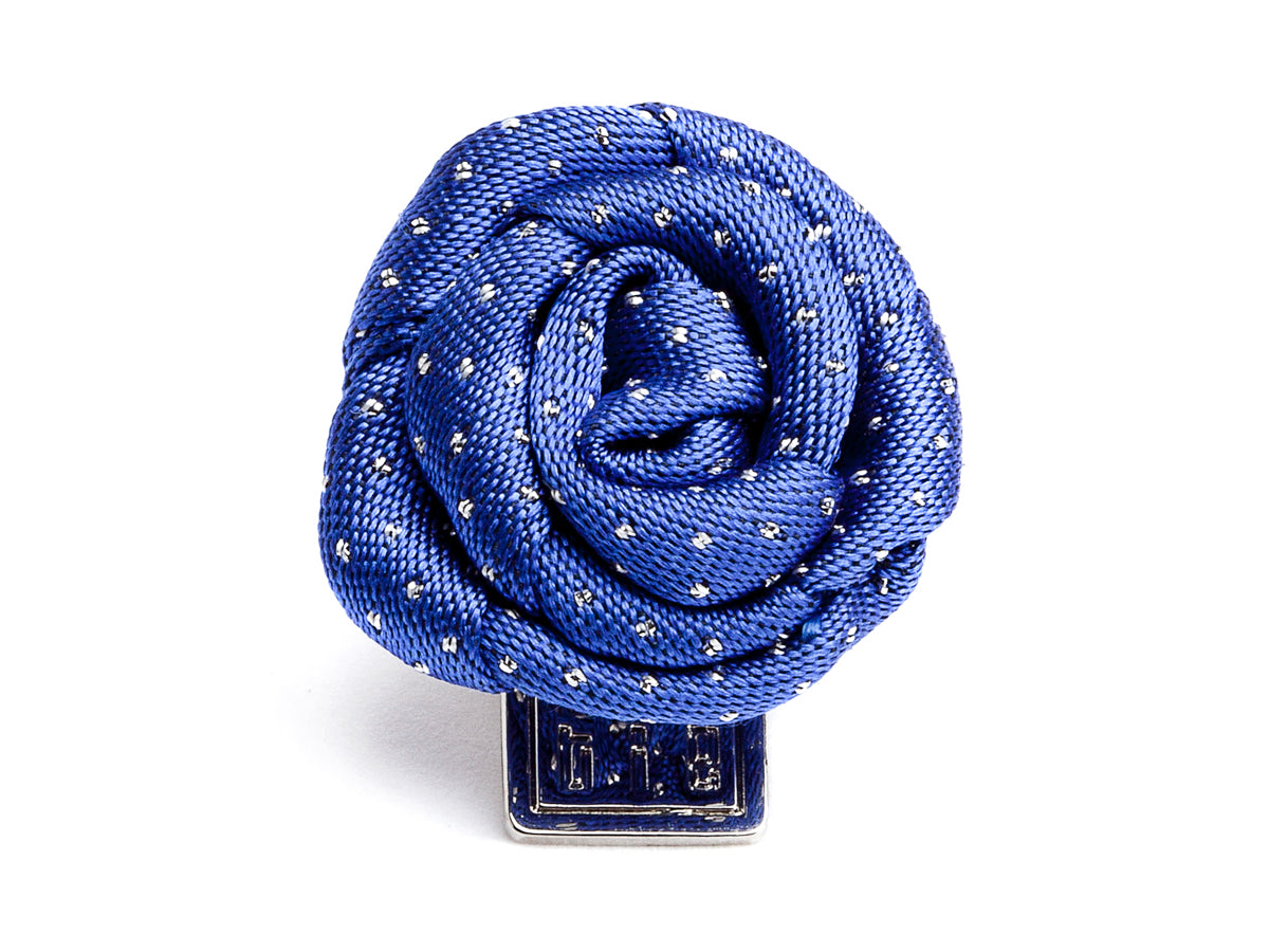 Silk Rose Boutonniere Navy & White Polka Dots